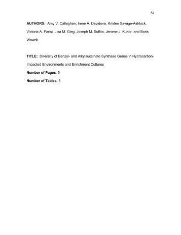 S1 AUTHORS: Amy V. Callaghan, Irene A. Davidova ... - Boris Wawrik