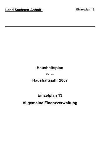 Einzelplan 13