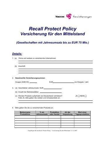 Recall Protect Policy - Nassau Versicherungen