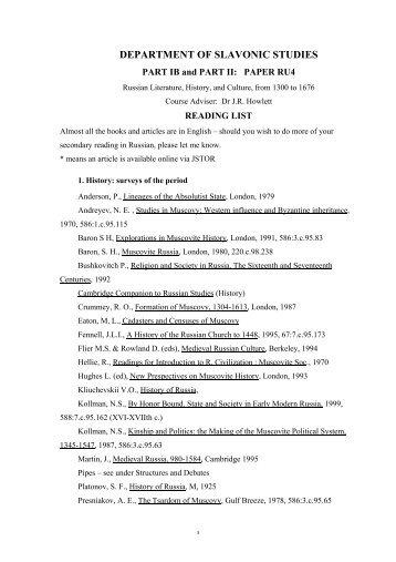 DEPARTMENT OF SLAVONIC STUDIES