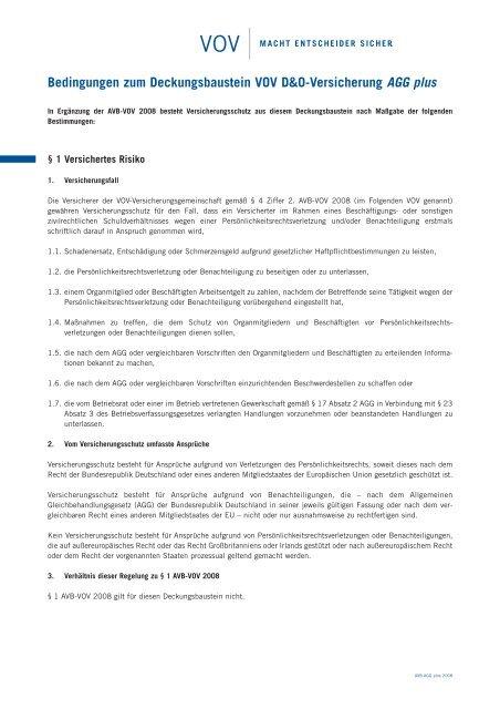 Bedingungen zum Deckungsbaustein VOV D&O-Versicherung AGG ...