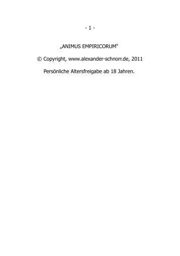 ANIMUS EMPIRICORUM - Alexander Schnorr
