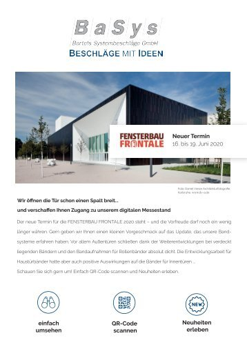 BaSys - Bartels Systembeschläge // Fensterbau Frontale 2020