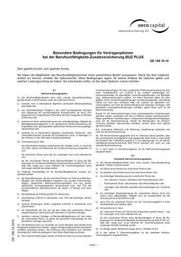 Besondere Bedingungen für Vertragsoptionen bei der - Oeco Capital