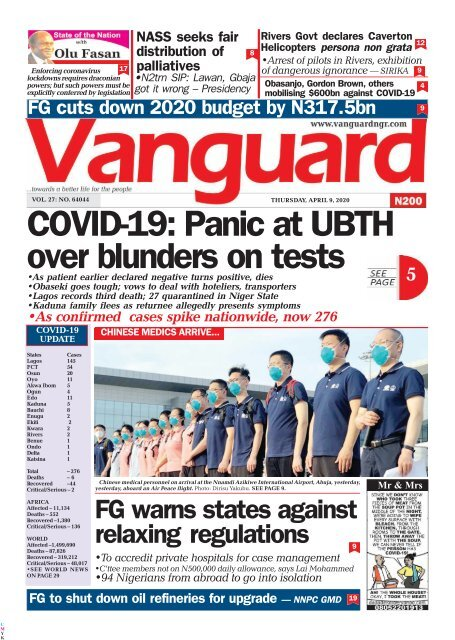 09042020 - COVID-19: Panic at UBTH over blunders on tests