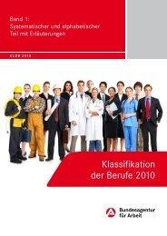 Klassifikation der Berufe 2010 - Statistik der Bundesagentur für Arbeit