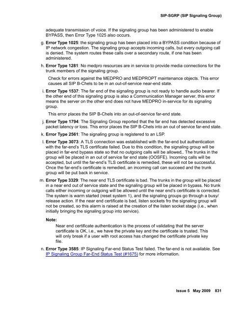 Table 229: SIP-SGRP Error