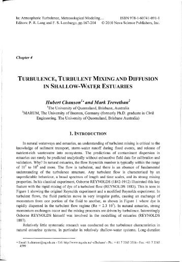 TURBULENCE, TURBULENT MIXING AND DIFFUSION IN ...
