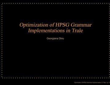 Optimization of HPSG Grammar Implementations in Trale