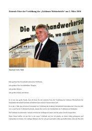 Rede zur Verleihung der Goldenen Meisterbriefe - Manfred Groh