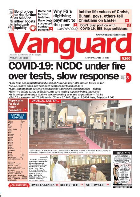 13042020 - COVID-19: NCDC under fire over tests, slow response