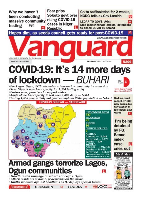 14042020 - COVID-19: It's 14 more days of lockdown — BUHARI