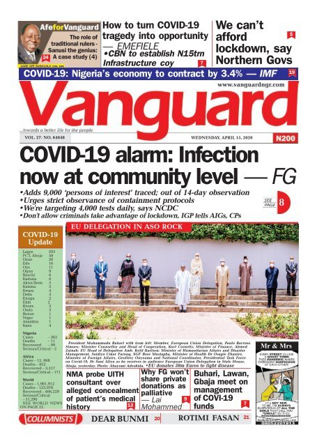 15042020 - COVID-19 alarm: Infection now at community level