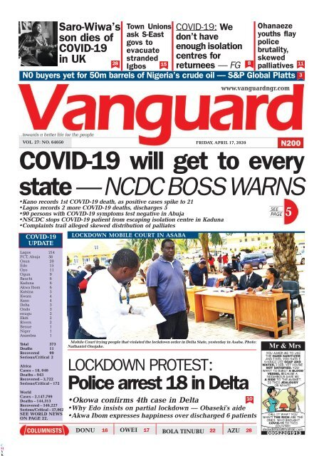 17042020 - COVID-19 will get to every state — NCDC BOSS WARNS