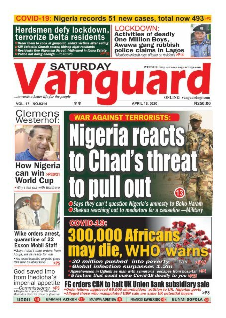 18042020 - Nigeria reacts to Chad's threat to pull put