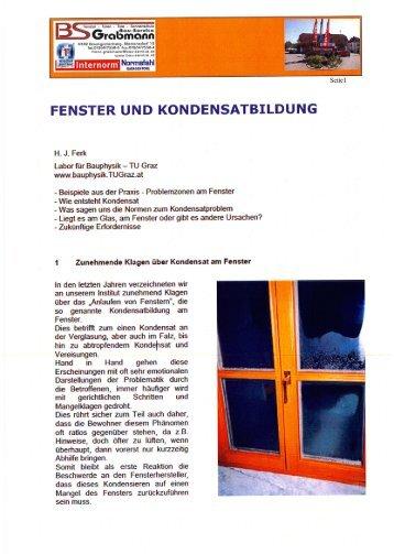 Fenster und Kondensatbildung - Bau-Service Grabmann