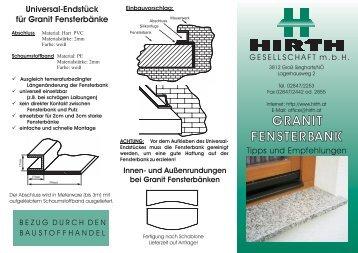 Universal-Endstück für Granit Fensterbänke - Bau-Service Grabmann