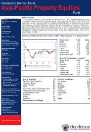 Asia-Pacific Property Equities Fund - Henderson Global Investors