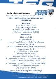 TSG  Jahnhaus Arion Savidis Essen zum Mitnehmen - Support your locals! 20 04 2020