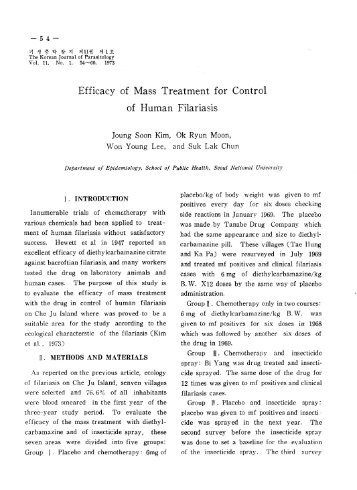 Efficacy of Mass Treatment for Control - The Korean Society for ...