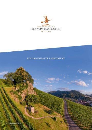 Sortiments- und Preisliste Winzerkeller Hex vom Dasenstein