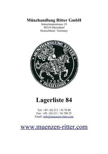 Lagerliste 84 - Münzhandlung Ritter GmbH