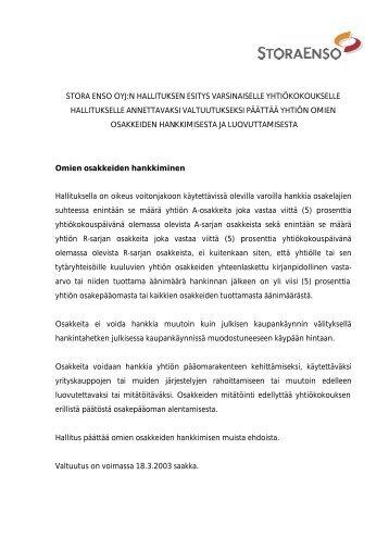 stora enso oyj:n hallituksen esitys varsinaiselle yhtiökokoukselle ...