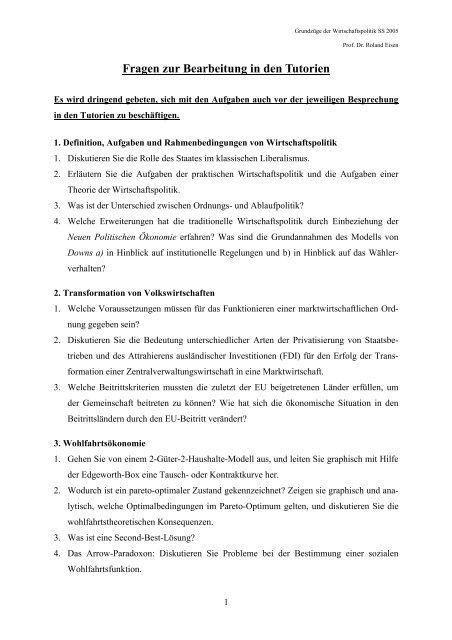 Fragen zur Bearbeitung in den Tutorien - Wiwi Uni-Frankfurt