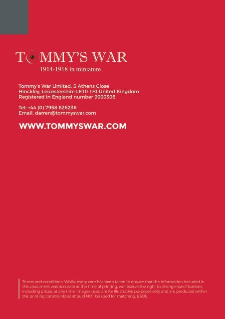 Tommy's War catalogue 2019-2020