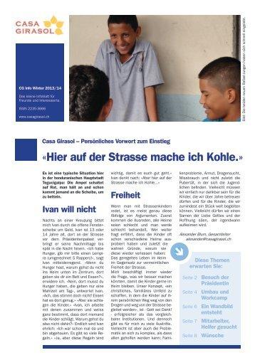 Infoblatt des Schweizer Kinderhilfswerks Casa Girasol in Honduras - November 2013 - Workcamp