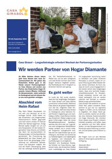 Infoblatt Missionswerk Casa Giraosl - September 2014