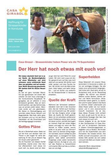Infoblatt des Kinderhilfswerks Casa Girasol - Dezember 2015