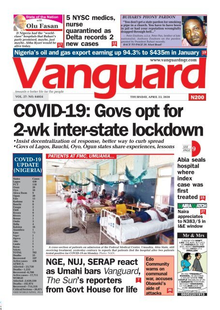 23042020 - COVID-19: Govs opt for 2-wk inter-state lockdown