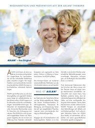 Regeneration und Prävention mit der ASLAN Therapie