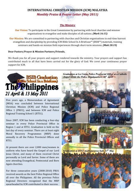 INTERNATIONAL CHRISTIAN MISSION (ICM) MALAYSIA Monthly
