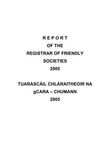 Report of the Registrar of Friendly Societies 2005 - Department of ...
