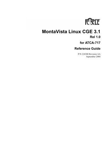 MontaVista Linux CGE 3.1 Rel 1.0 for ATCA - Emerson Network Power