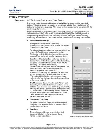 SAG582140000 SYSTEM OVERVIEW - Emerson Network Power