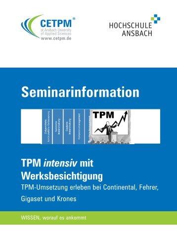 TPM intensiv mit Werksbesichtigung - CETPM