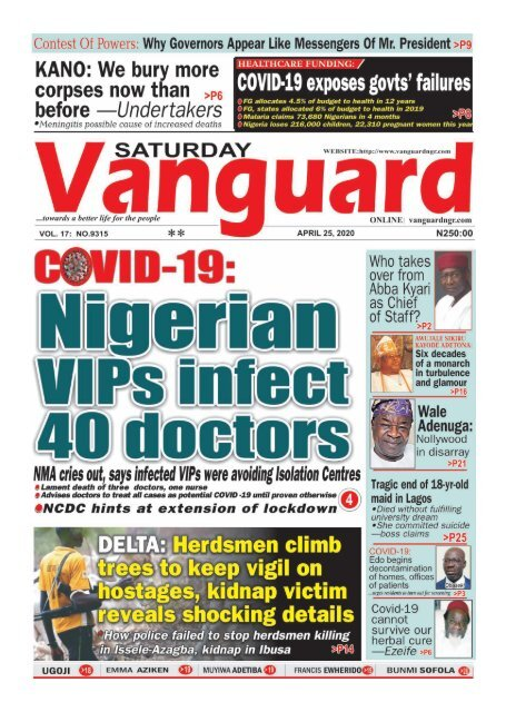 25042020 - COVID-19 Nigerian VIPs infect 40 doctors