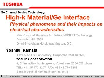 Yoshiki Kamata - Sematech