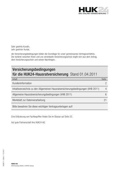 Versicherungsbedingungen Fur Die Huk24 Hausratversicherung