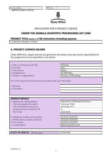 Home office project licence application