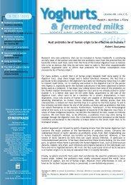 hypothesis for a mode of action Probiotics ... - Maison du lait