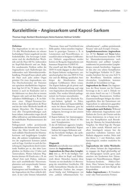 Kurzleitlinie – Angiosarkom und Kaposi-Sarkom