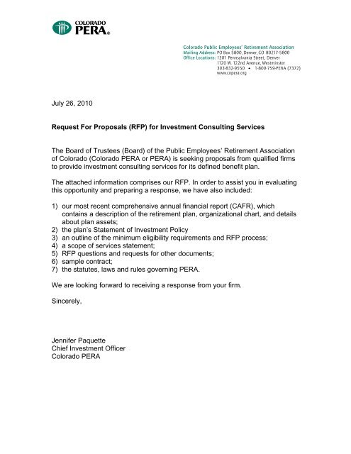Investment Consulting Services RFP - Colorado PERA
