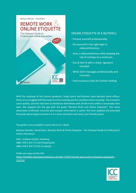International Courtesy Competence - ICC Special No1 - REMOTE WORK AND ONLINE ETIQUETTE - 04.2020