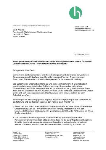 Stellungnahme vom 14.02.2011 - Krefeld - Kempen - Viersen eV