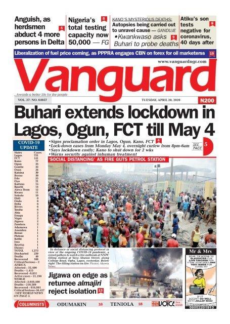 28042020 - Buhari extends lockdown in Lagos, Ogun, FCT till May 4