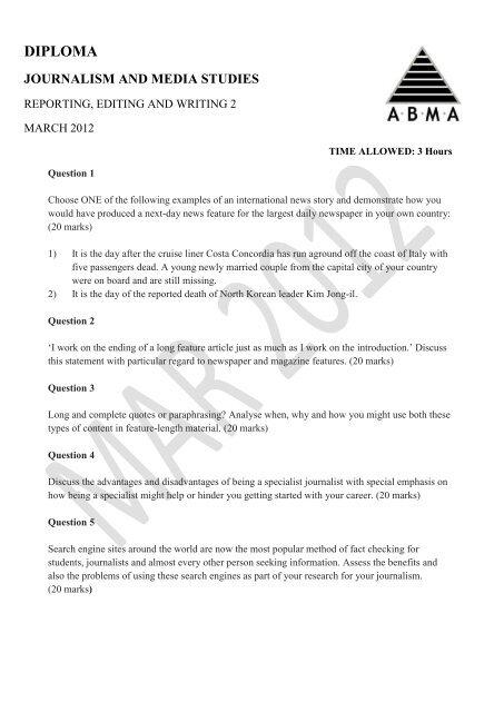 diploma journalism and media studies - ABMA